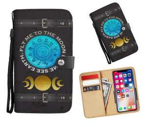 Zodiac & Orange Moon Phases Wallet Phone Case - Hand Made to Order - falooka