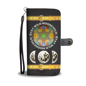 Hexagram & Moon Phases Wallet Phone Case - Hand Made to Order - falooka