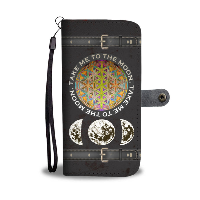 Flower of Life & Moon Phases Wallet Phone Case - Hand Made to Order - falooka