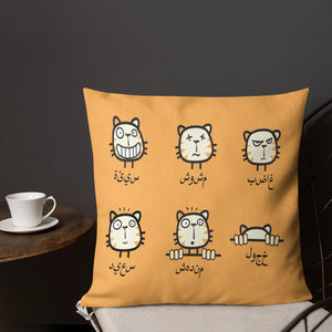 Beginner Arabic Text with Cat Emojis on Premium Indoor Pillow (20X12 OR 18x18) - Hand Made to Order - falooka