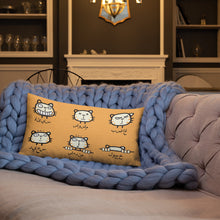 Load image into Gallery viewer, Beginner Arabic Text with Cat Emojis on Premium Indoor Pillow (20X12 OR 18x18) - Hand Made to Order - falooka