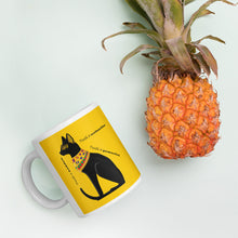 Load image into Gallery viewer, Bold Egyptian Black Cat on Mug (11oz &1 5oz) - Hand Made to Order - falooka