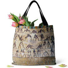 Load image into Gallery viewer, Fight and Love Scenes on Walls of Kethi tomb, Beni Hasan Tote bag (15X15) - Hand Made to Order - falooka