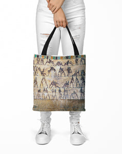 Fight and Love Scenes on Walls of Kethi tomb, Beni Hasan Tote bag (15X15) - Hand Made to Order - falooka