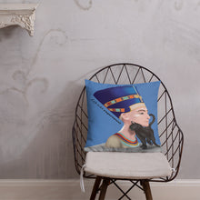 Load image into Gallery viewer, Nefertiti with the Scared Cat Premium Indoor Pillow (18X18) - Hand Made to Order - falooka