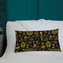 Load image into Gallery viewer, Rich Ancient Egyptian Mystical Symbols Premium Indoor Pillow (20X12 OR 18x18) - Hand Made to Order - falooka