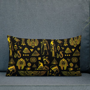 Rich Ancient Egyptian Mystical Symbols Premium Indoor Pillow (20X12 OR 18x18) - Hand Made to Order - falooka