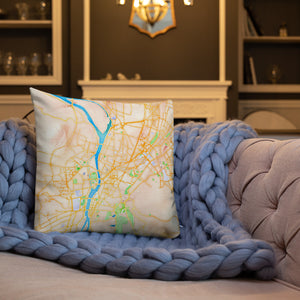 Egyptian Nile Water Color Map Premium Indoor Pillow (18X18) - Hand Made to Order - falooka