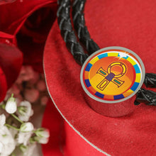 Load image into Gallery viewer, Modern Ankh Egyptian Charm (Symbolizes 'wisdom' in your life) - Real Leather Woven Bracelet - Hand Made to Order - falooka
