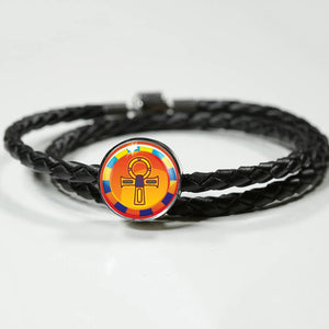 Modern Ankh Egyptian Charm (Symbolizes 'wisdom' in your life) - Real Leather Woven Bracelet - Hand Made to Order - falooka