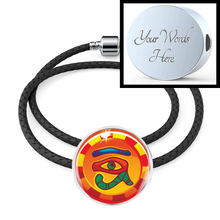 Load image into Gallery viewer, Classic Eye of Horus Egyptian Charm (Symbolizes 'good Health' in your life) - Real Leather Woven Bracelet - Hand Made to Order - falooka