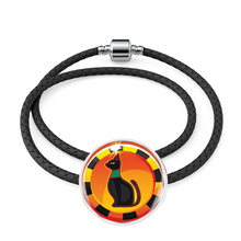 Load image into Gallery viewer, Sacred Egyptian Cat Charm (Symbolizes 'protection and Love' in your life) - Real Leather Woven Bracelet - Hand Made to Order - falooka