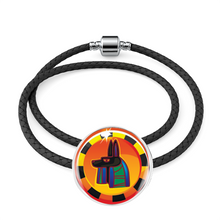 Load image into Gallery viewer, Bewitching Anibus Egyptian Charm (Symbolizes 'protection' in your life) - Real Leather Woven Bracelet - Hand Made to Order - falooka