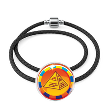 Load image into Gallery viewer, Dazzling Pyramid Egyptian Charm (Symbolizes 'endurance' in your life)  - Real Leather Woven Bracelet - Hand Made to Order - falooka