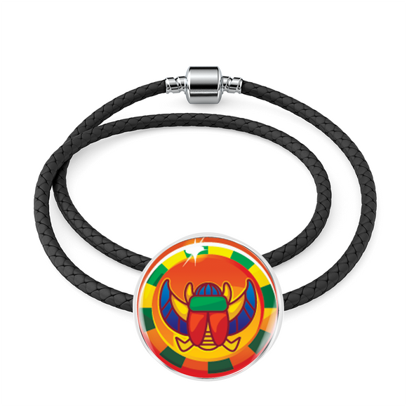Mysterious Scarab Egyptian Charm (Symbolizes 'the coming of newness' in your life)  - Real Leather Woven Bracelet - Hand Made to Order - falooka