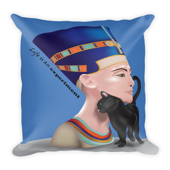 Nefertiti with the Scared Cat Premium Indoor Pillow (18X18) - Hand Made to Order - falooka