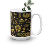 Rich Ancient Egyptian Mystical Symbols on Mug (11oz & 15oz) - Hand Made to Order - falooka