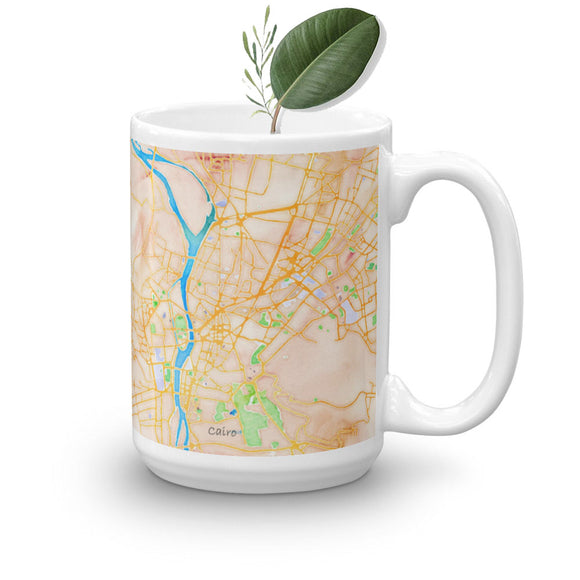 Chic Water Color Map of the Egyptian Nile on Mug (11oz & 15oz) - Hand Made to Order - falooka
