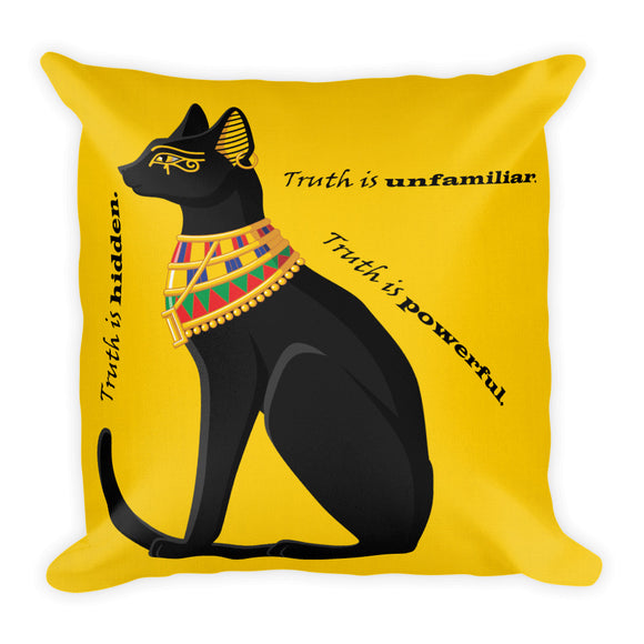 Bold Egyptian Black Cat on Premium Indoor Pillow (18X18) - Hand Made to Order - falooka