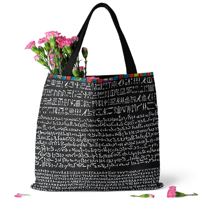 Rosetta Stone Design on Tote Bag (15X15) - Hand Made to Order - falooka