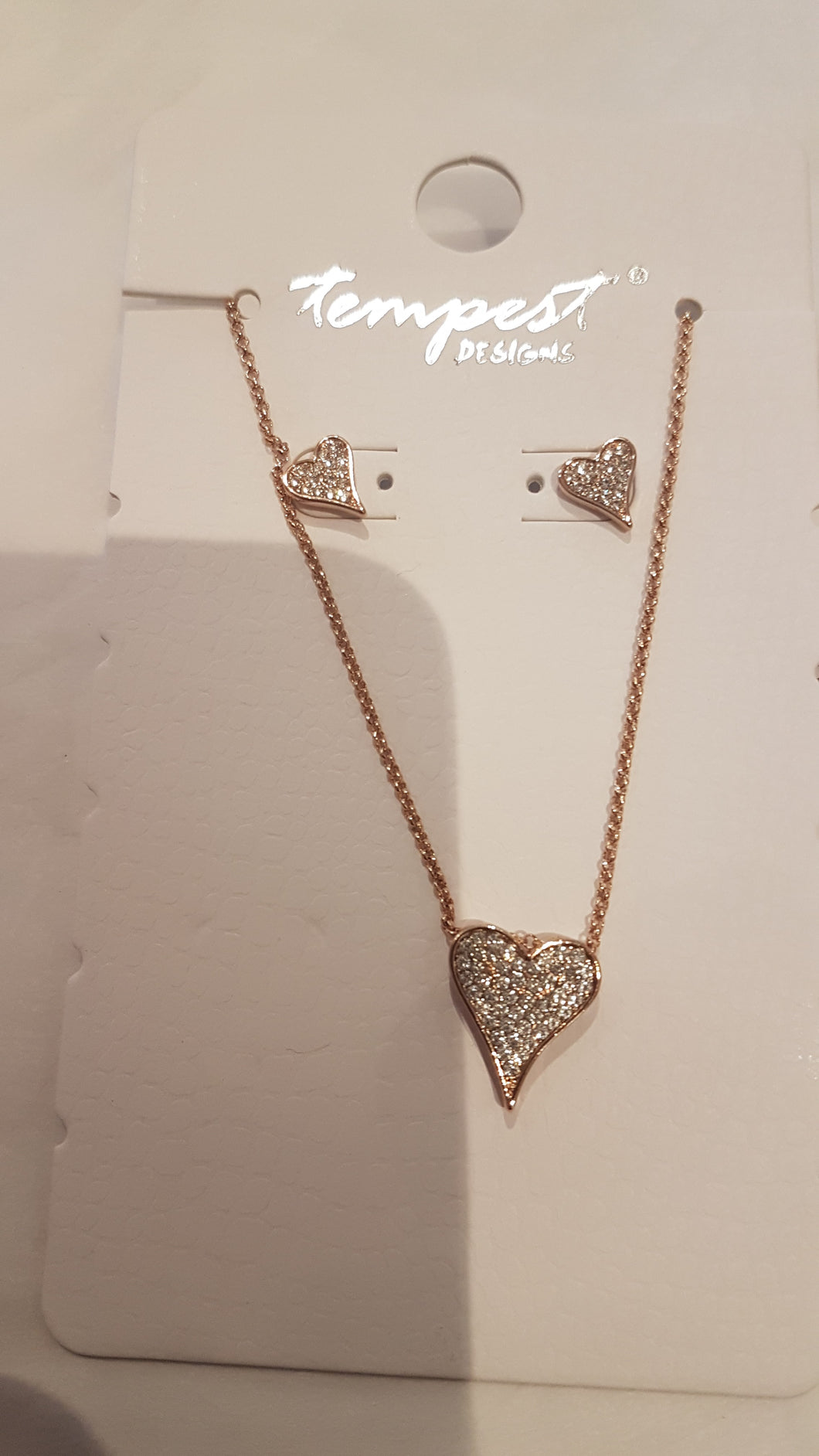 Gold Diamonte Earring and Necklace Set