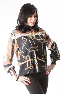Chain Scarf Print Blouse With Elasticated Neckline