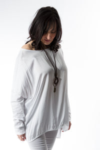 Loose fitting top with satin front panel