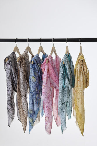 Snake Print Cotton Scarf - various colours