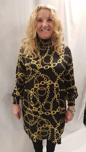 Black and Gold Chain Print Long Sleeve Dress
