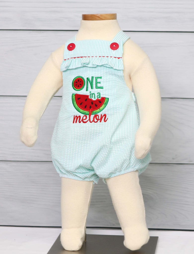 One in a melon first birthday outfit