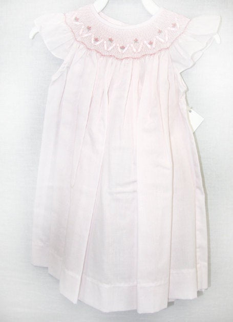 Smocked baby clothes, Pink smock dress