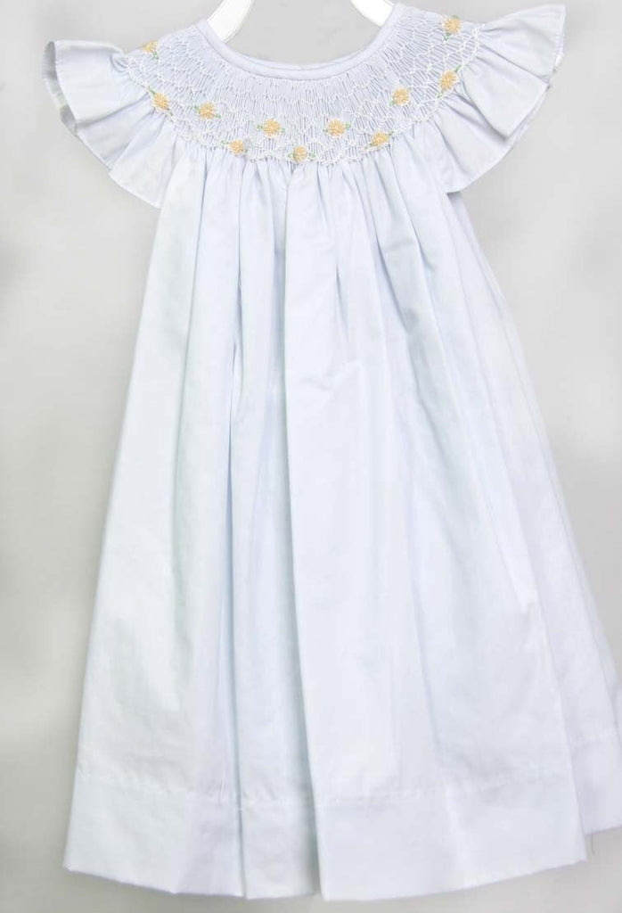 Flower Girl Dress, Toddler Flower Girl Dress, Smocked Dresses Baby Girl, Smocked Summer Dress, Baby Girl White Dress, 412676 - CC252