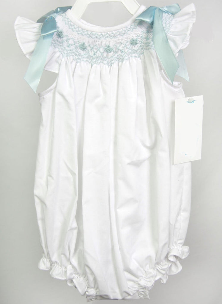 Infant Girl Clothes with Smocking, Childrens Clothes in White, Twin Baby Clothes, Twin Onesies 412804 - DD153