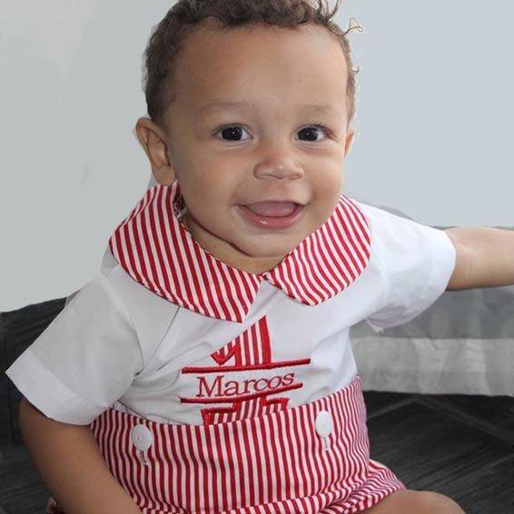 Baby boy first birthday outfit red
