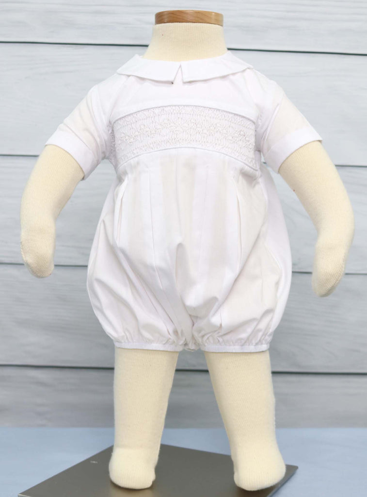 Baby boy bubble romper, white