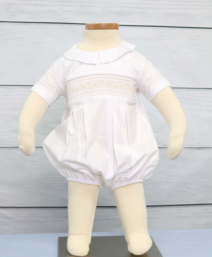 Baby boy smocked romper