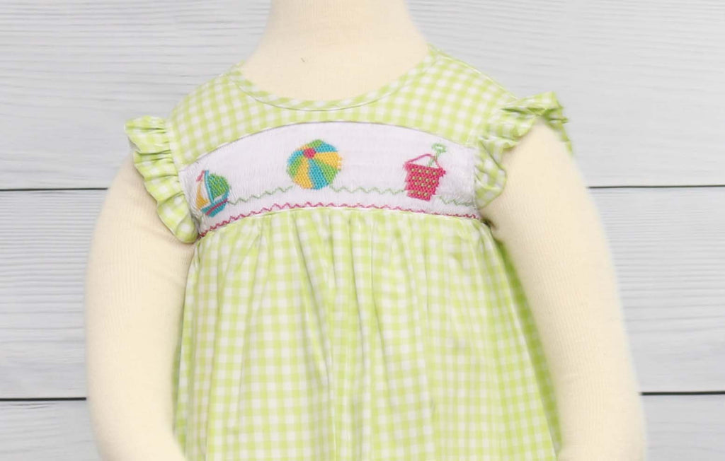 Girls Summer Dress, Toddler Sundress, Smocked Summer Dress, Smocked Dress, Bishop Sleeve Dress, Smocked Sundress 412840 - A144