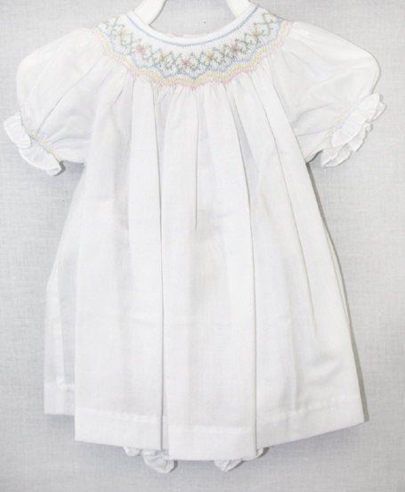 white smocked baby dress, bishop sleeve dress