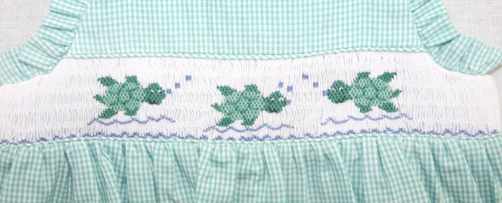 Smocked Baby Clothes, Sea Turtle Design