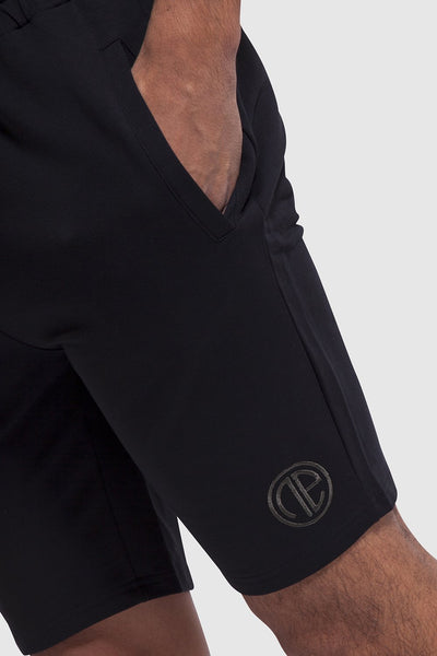 side detail of mens black gym shorts (Bedford)