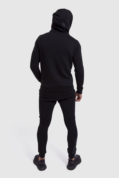 Mens gym joggers and hoodie in black & red