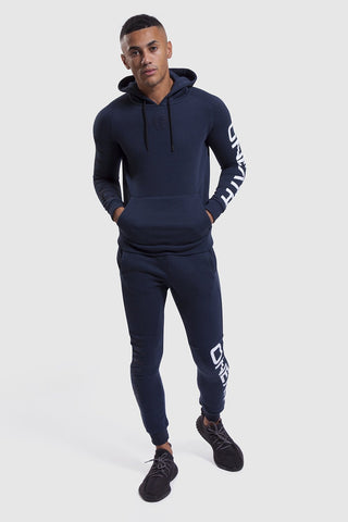 Navy/White gym hoodie & joggers for men