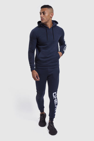 mens gym joggers & hoodie in Navy/White (Bentley)