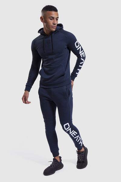 Navy/White gym hoodie and joggers for men