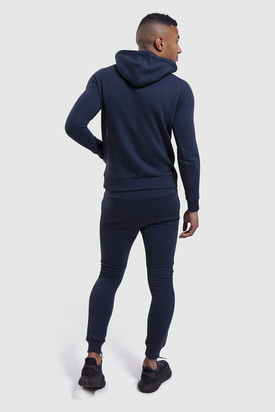 back profile of mens gym jogger and hoodie in Navy/White