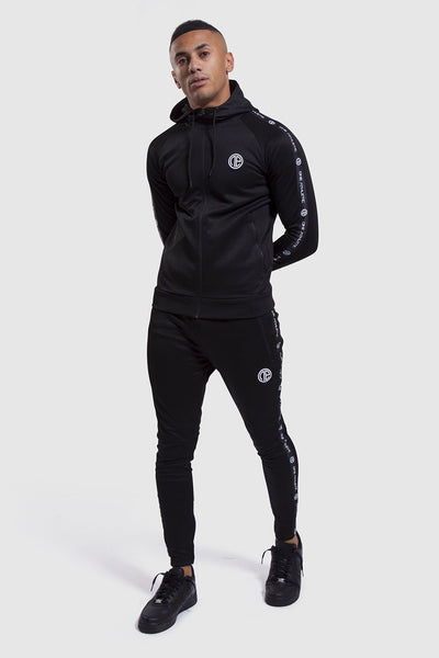 mens gym joggers and track hoodie in black (Firestone II)