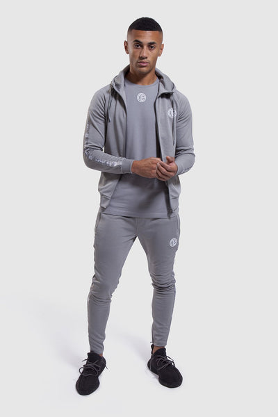 Firestone II gym joggers and hoodie in grey