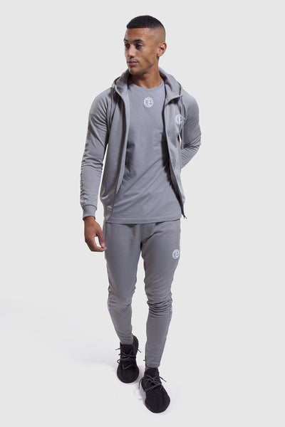 mens matching gym joggers and hoodie in grey