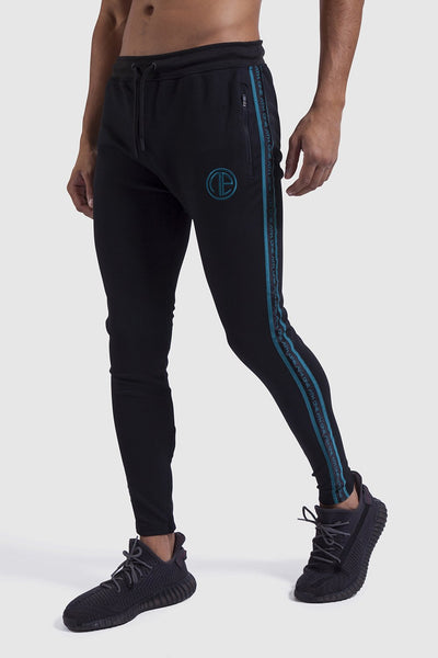mens gym joggers in black & teal (poly)