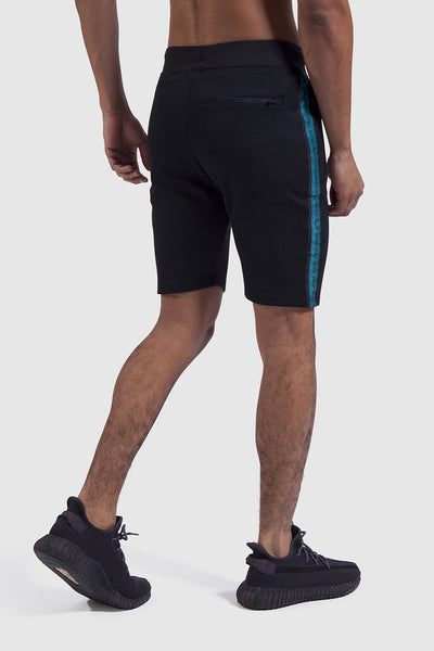 Tape detail in Black/Teal mens gym shorts